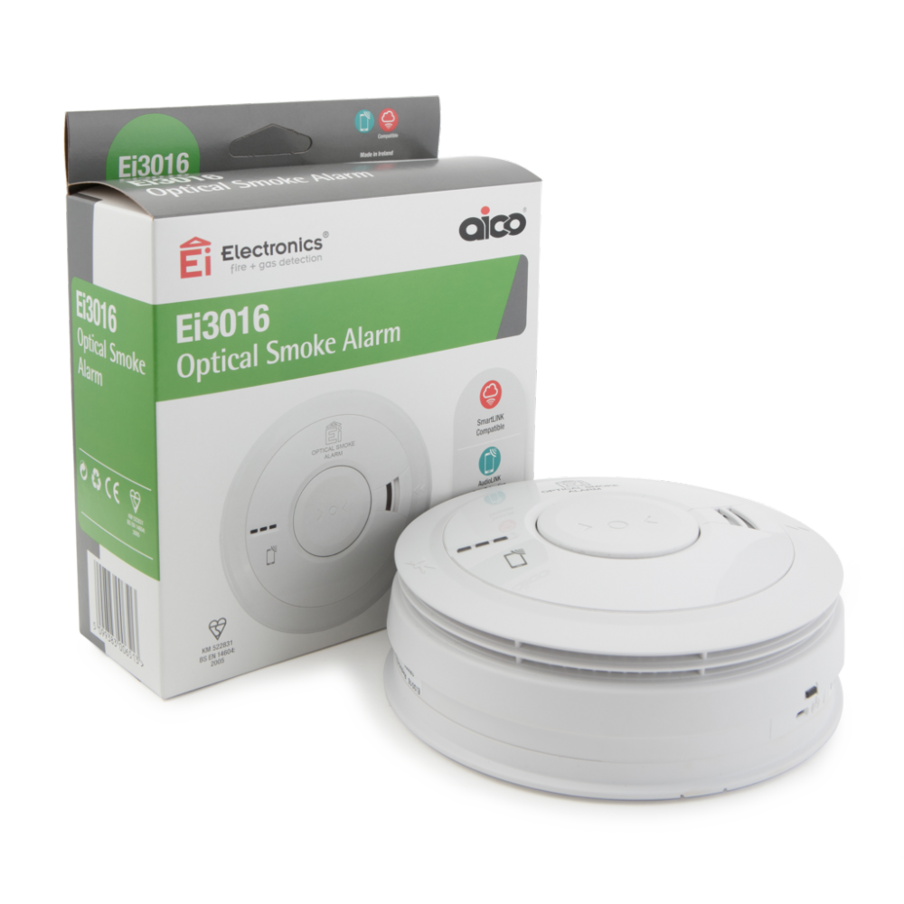 Aico EI3016 3000 Series Optical Smoke Alarm with Rechargeable Lithium Battery Backup